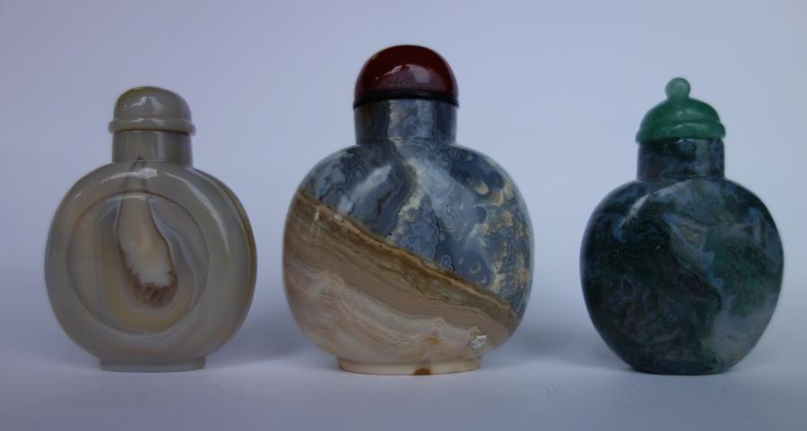 3 Chinese Hardstone Snuff Bottles