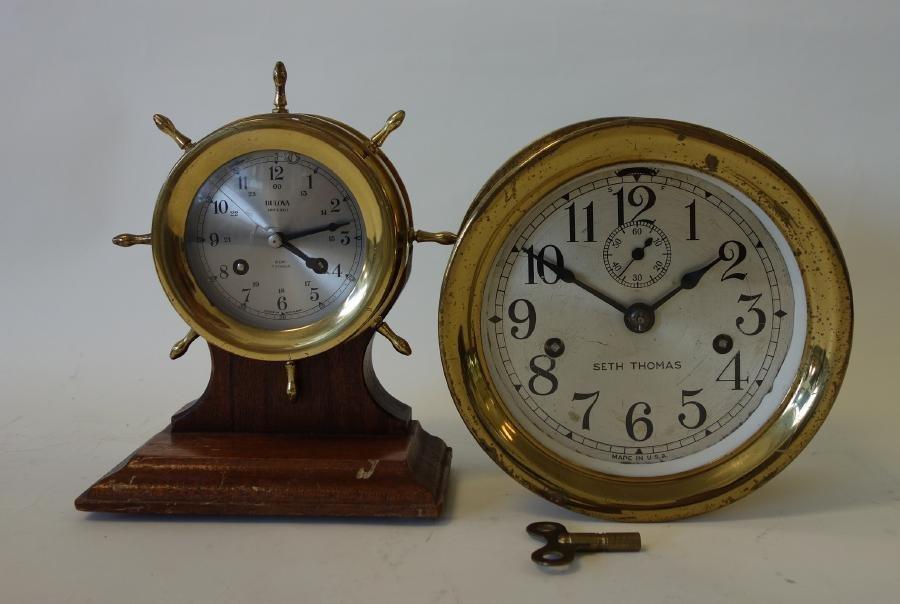 2 Brass Ship's Bell Clocks, Seth Thomas & Bulova