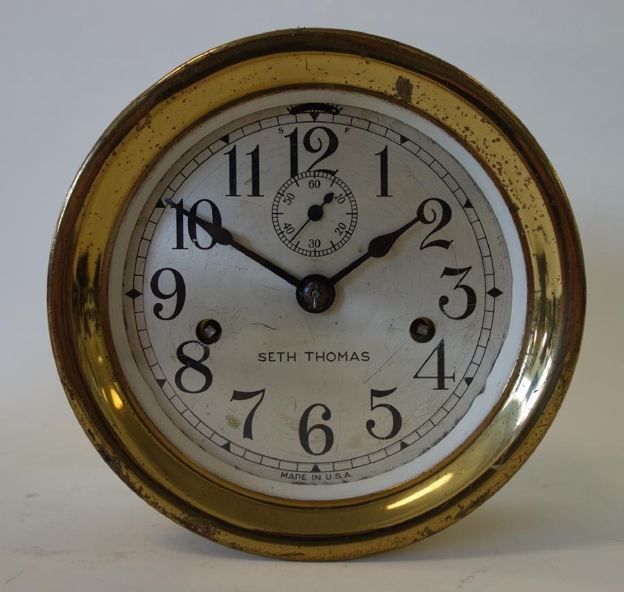 2 Brass Ship's Bell Clocks, Seth Thomas & Bulova - 2