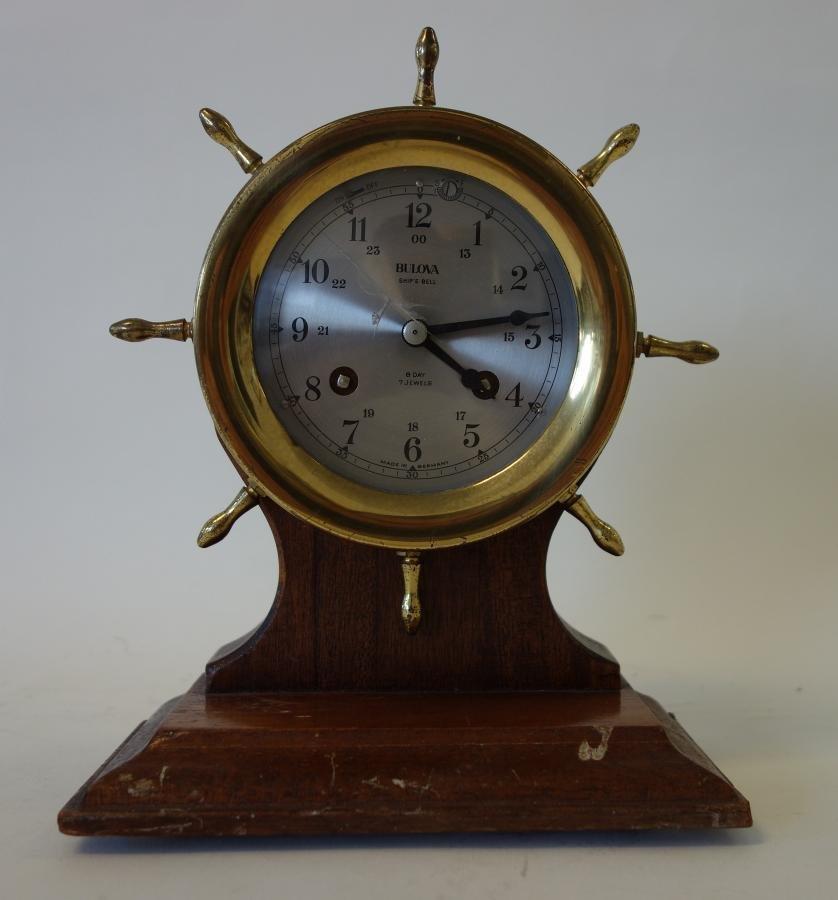 2 Brass Ship's Bell Clocks, Seth Thomas & Bulova - 3