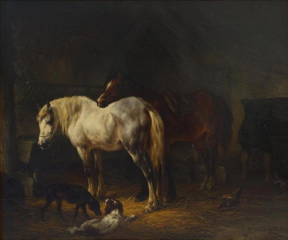 Wouterus Verschuur I (1812-1874) Horse Stable