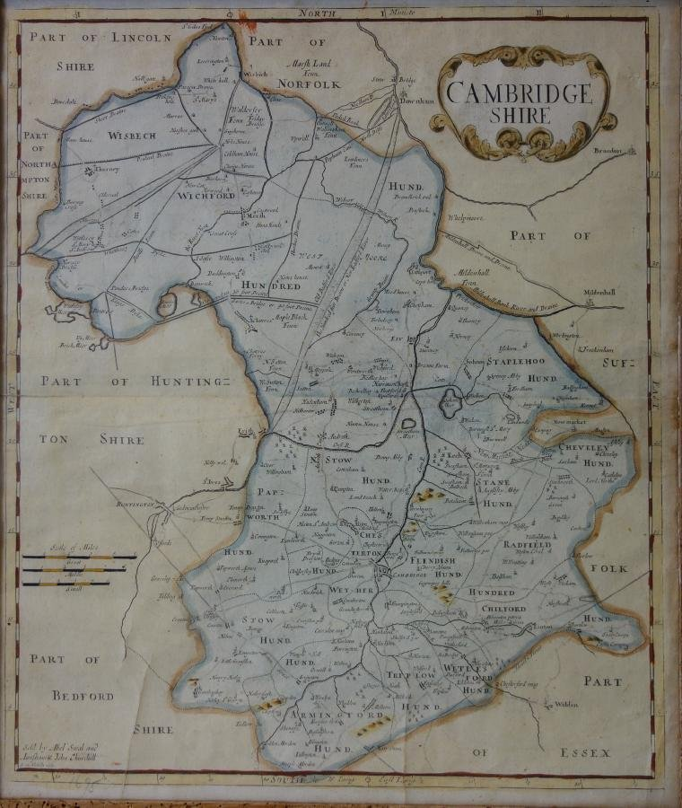 Map, Cambridgeshire, 17th Century Engraving
