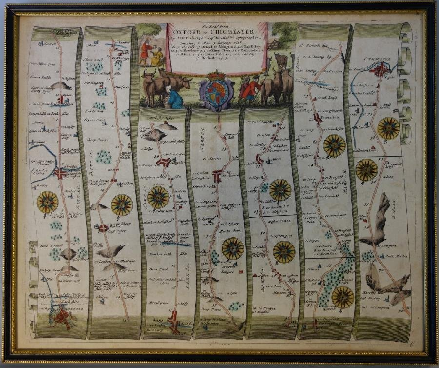 John Ogilby Road Map, Oxford to Chichester