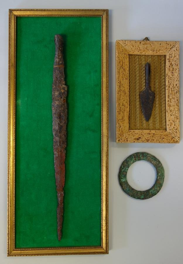 Bronze Age Spearheads & Disc, Anglo-Saxon