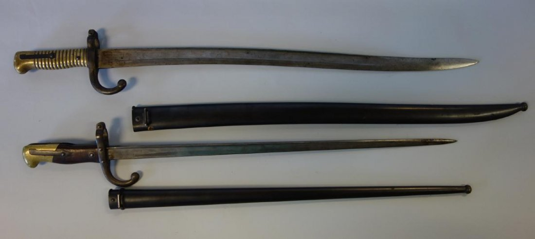 19thc French Bayonet & Scabbards, 1814 & 1876