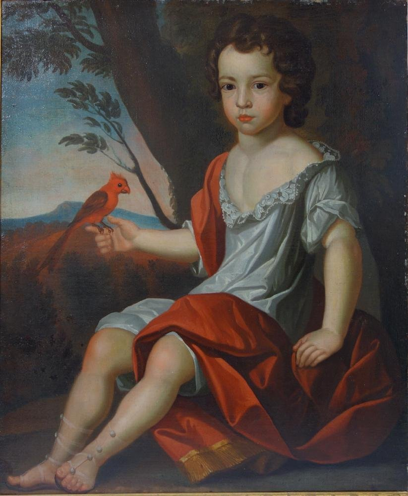 17thc Portrait, Boy in Red with Parrot