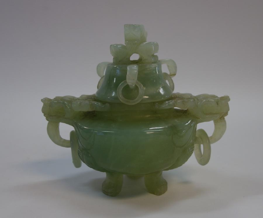Chinese Celadon Censer Urn, Dragon Motif