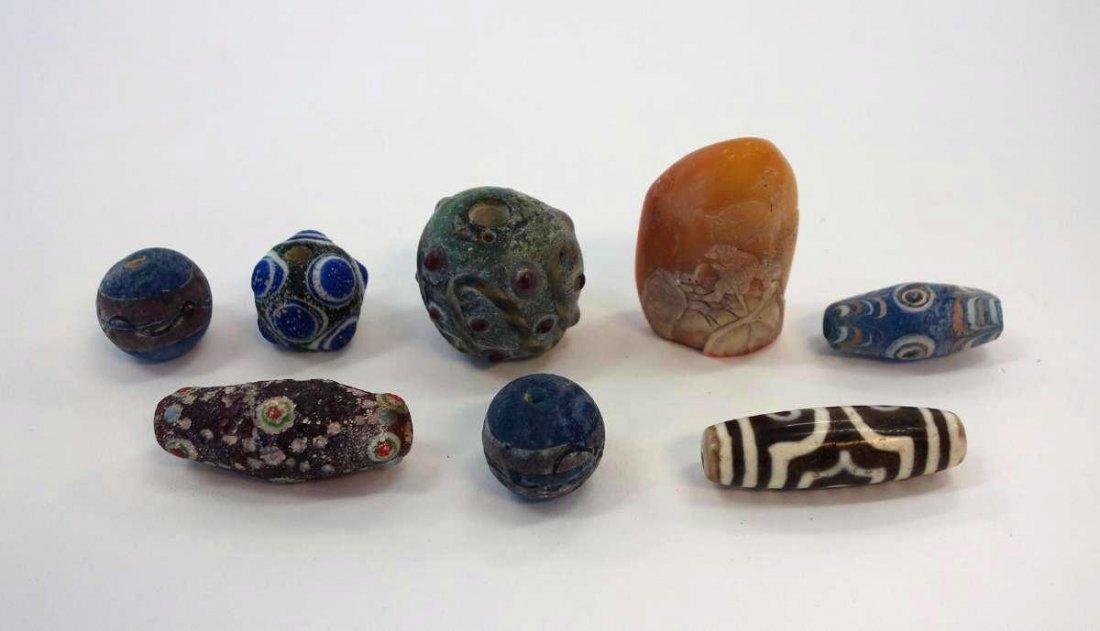 Tibetan Dzi Stone, Glass Beads & Shoushan Stone
