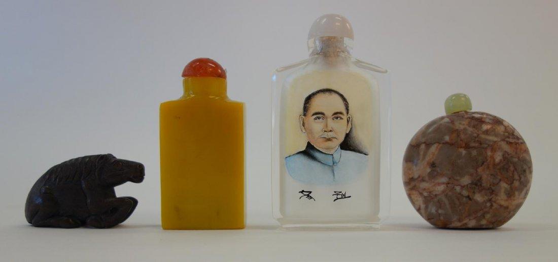 3 Chinese Snuff Bottles & Wood Netsuke
