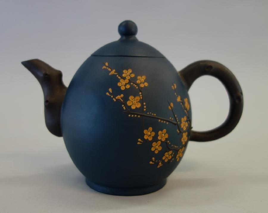 Chinese Yixing Blue Stoneware Teapot Signed