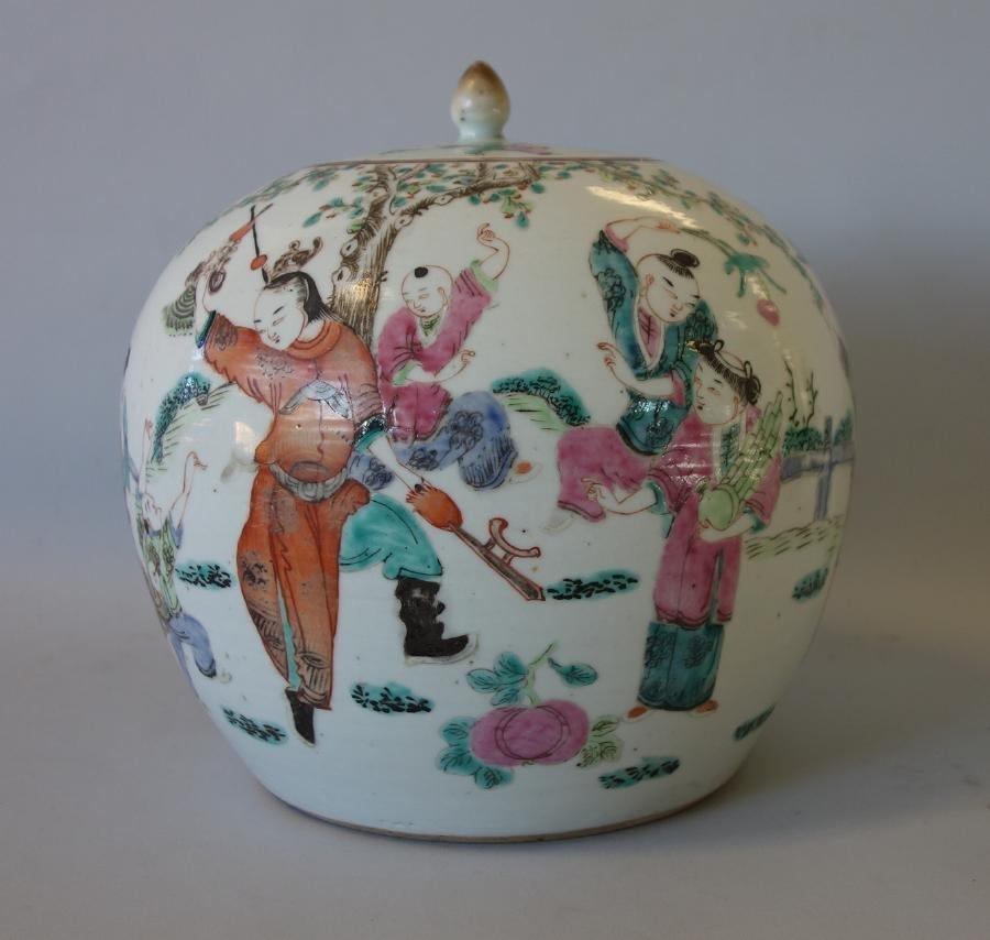 19thc Chinese Famille Rose Storage Jar
