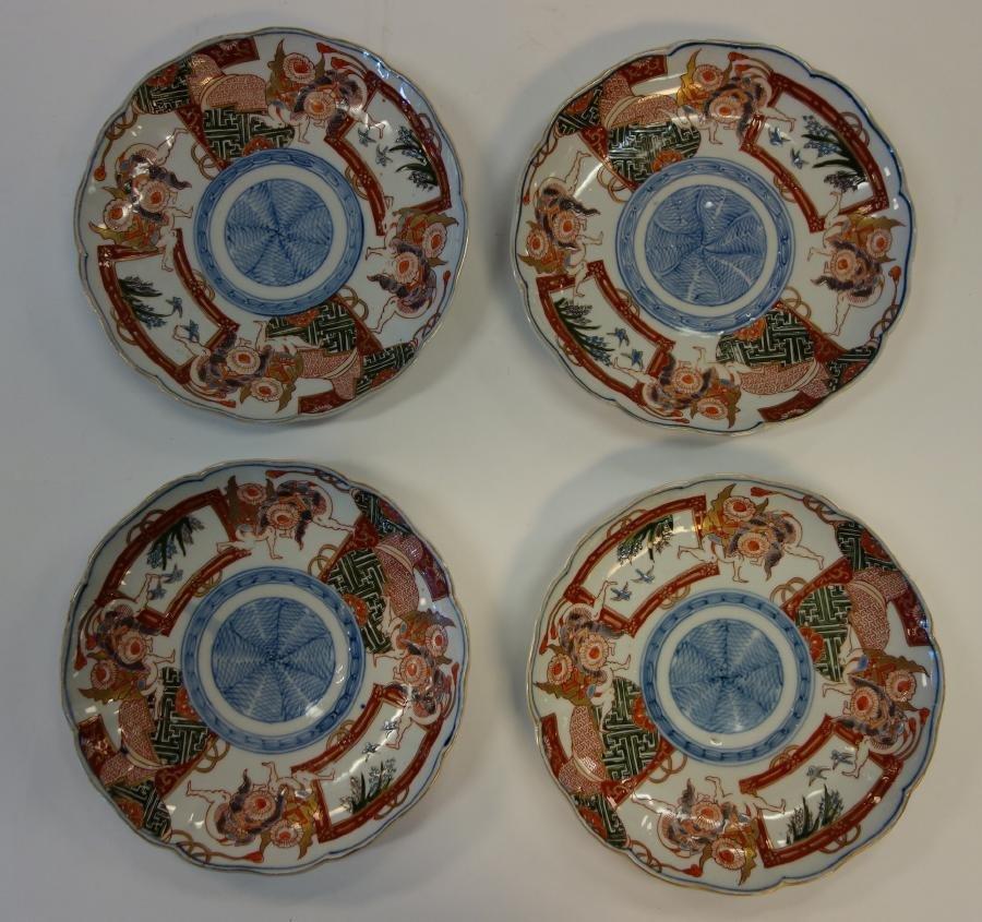 4 Japanese Imari Sumo Wrestler Porcelain Plates