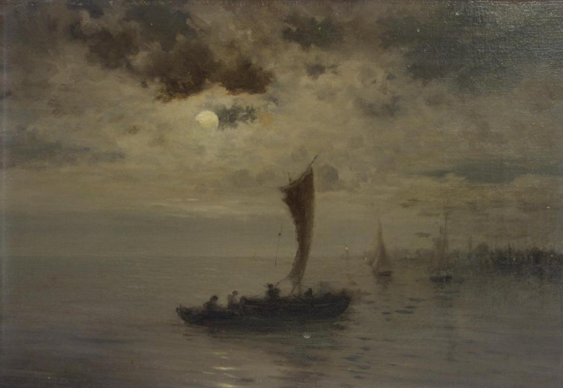 19thc French Impressionist, Moonlit Lake