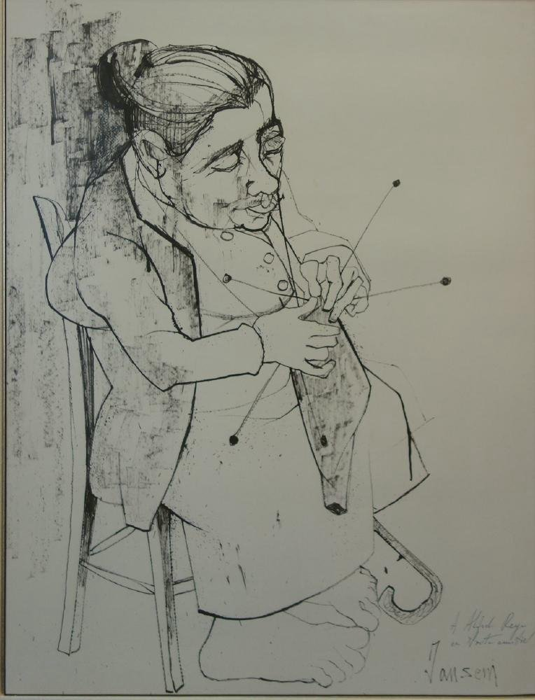 Jean Jansem Ink Drawing, Old Woman Knitting