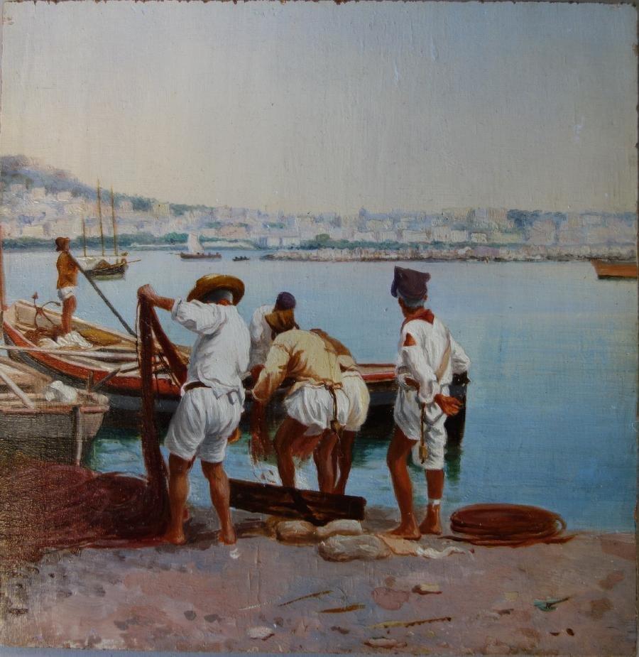 Attilio Pratella (1856-1949) Hauling in the Nets