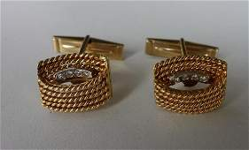 18K Italian Gold  Diamond Cufflinks