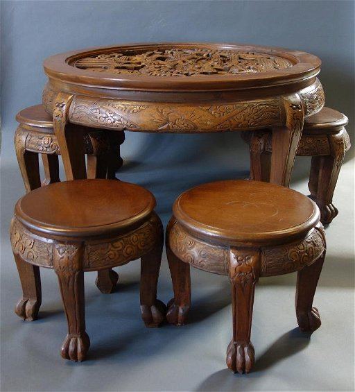 Fine Chinese Carved Tea Table Stools