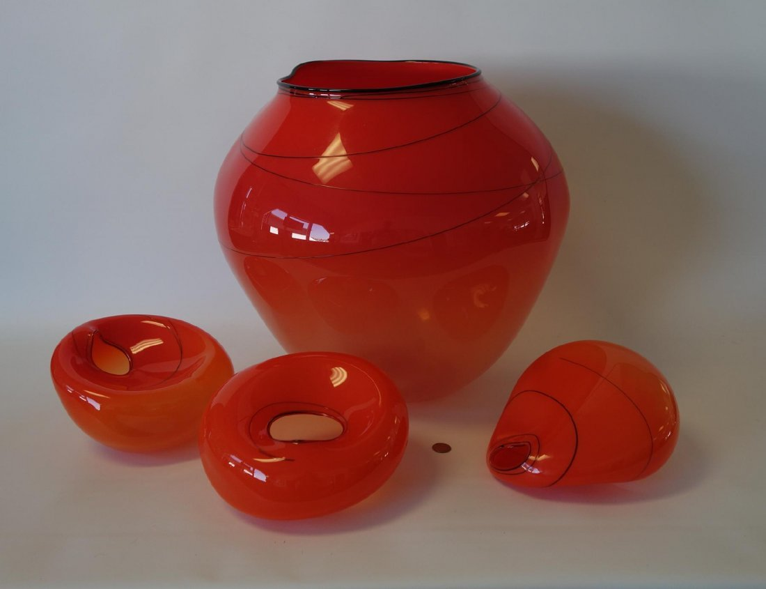 Dale Chihuly (b.1941) 4-piece Roman Red Basket Set