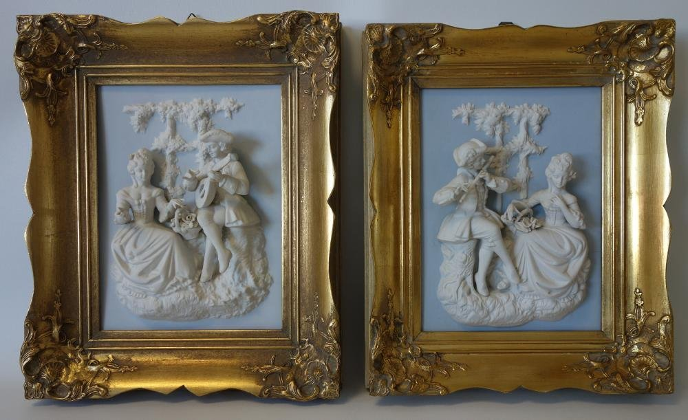 Dresden / Meissen Parian Classical Plaques