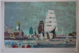Dong Kingman (1911-2000) Harbor Scene