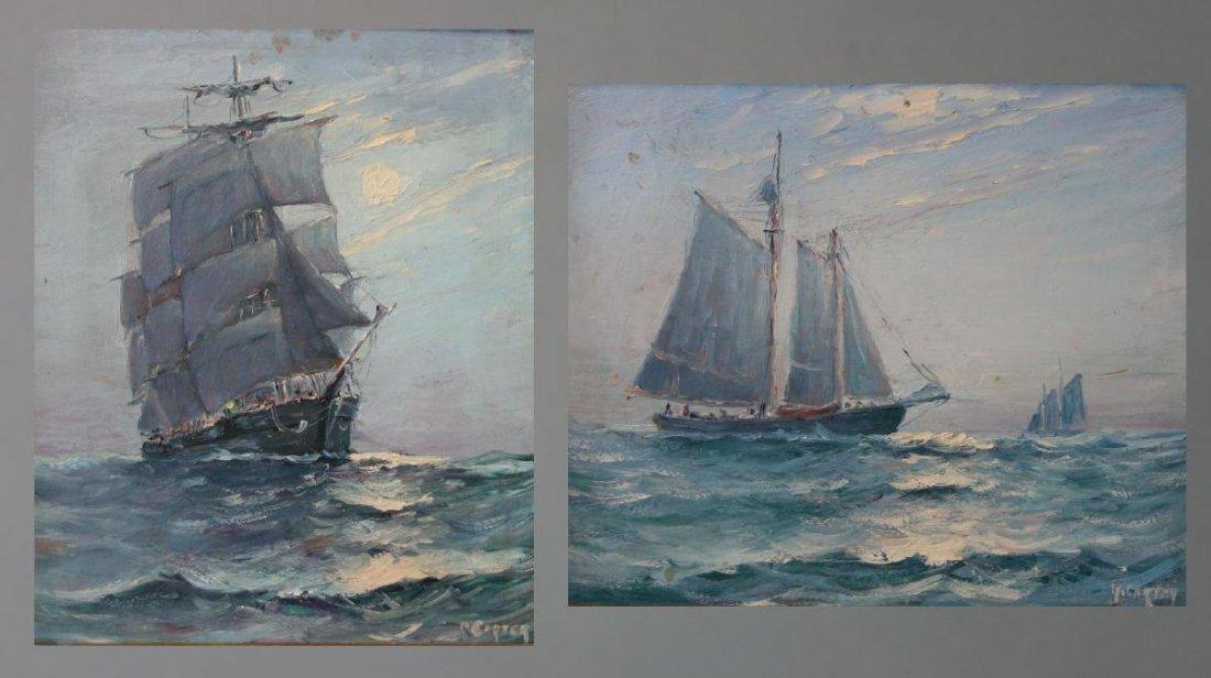 R. Carter, Marine Paintings, Sailing Ships, Maine