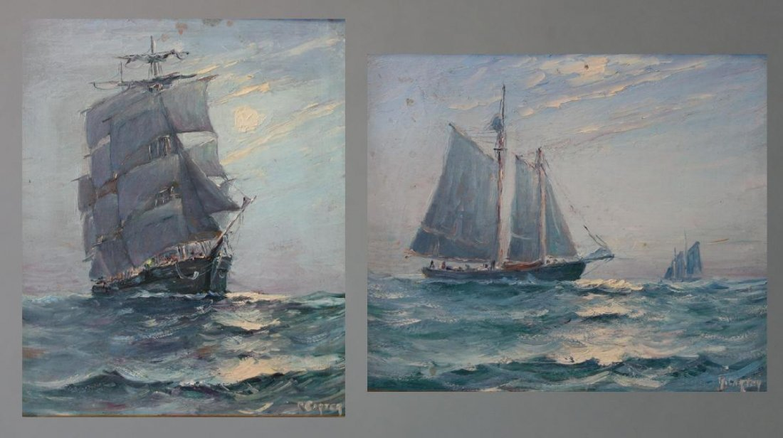 R. Carter, Marine Paintings, Sailing Ships, Maine