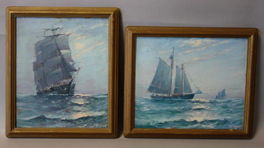 R. Carter, Marine Paintings, Sailing Ships, Maine - 2