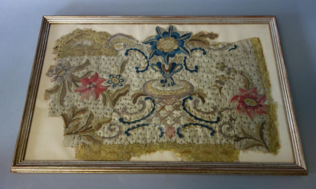 18thc Embroidered Tapestry Fragment