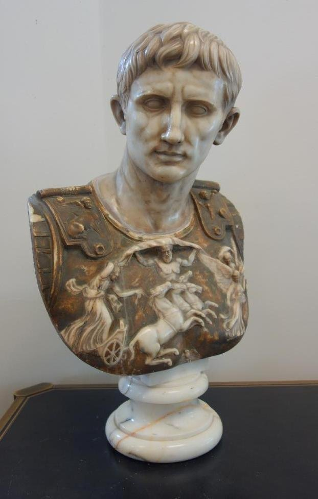 17thc Carved Marble Bust of Augustus Caesar