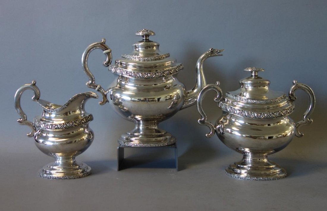 Peter Chitry (American) Coin Silver Tea Set, c1815