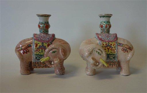 Chinese Porcelain Elephant Candle Holders