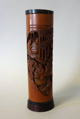 Chinese Carved Bamboo & Horn Incense Holder
