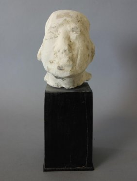 Chinese Carved Stone Head Of A Luohan / Buddha