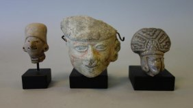 3 Pre-columbian Head Fragments On Stands