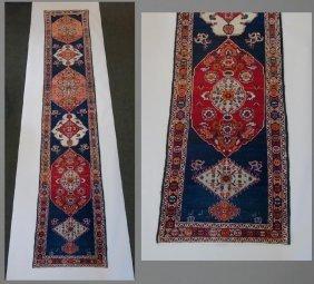 Antique Caucasian Kazak Carpet Runner 14.8 Ft Long