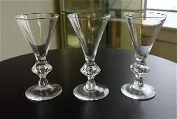 3 Steuben Crystal Trumpet Wine Goblets, Ptn 7737