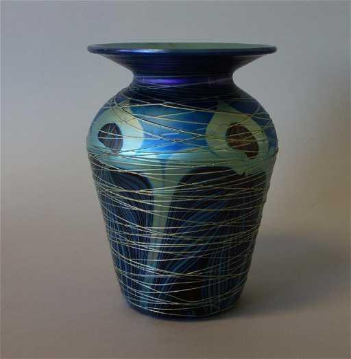 Carl Radke Blue Iridescent Pulled Feather Vase