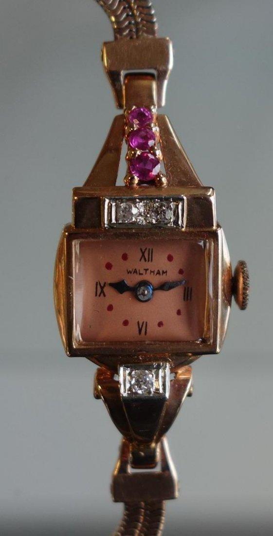 Art Deco Diamond & Ruby Watch by Waltham