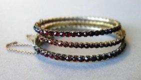 3 Victorian Bohemian Garnet Bangle Bracelets