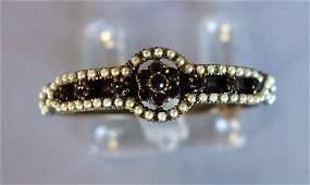 Victorian Bohemian Garnet  Seed Pearl Bracelet