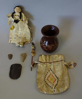 Native American Doll, Purse, Arrowheads +