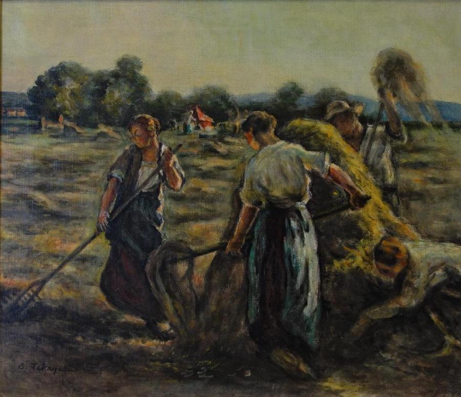 """S. Takayasu, Oil on Canvas """"Harvest Day"""""""