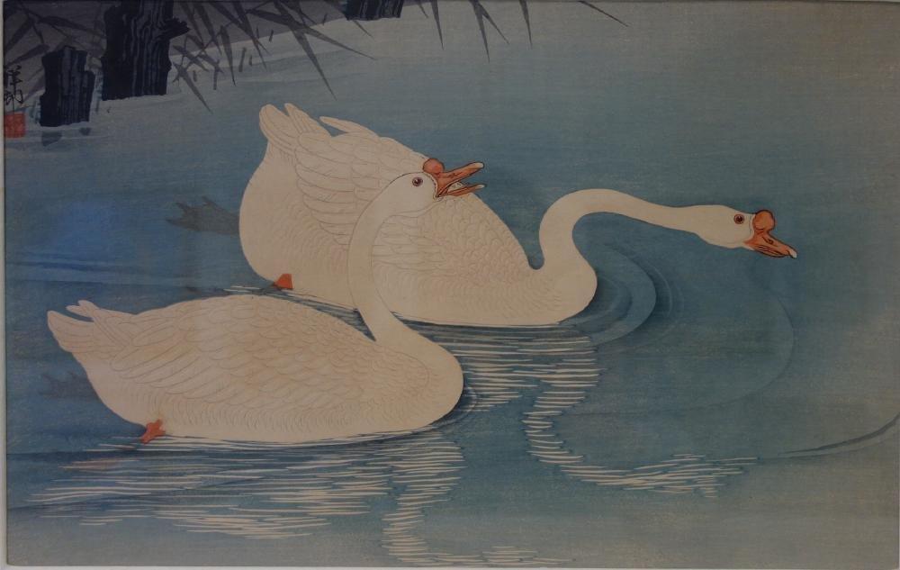Ohara Koson (1877-1945) Woodblock Two Swans