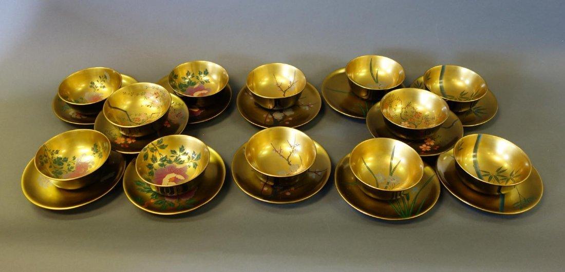 12 Fine Japanese Lacquer Bowls & 12 Plates