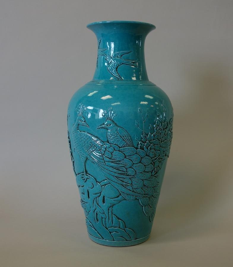 Chinese Turquoise Glazed Baluster Vase, 19thc Qing