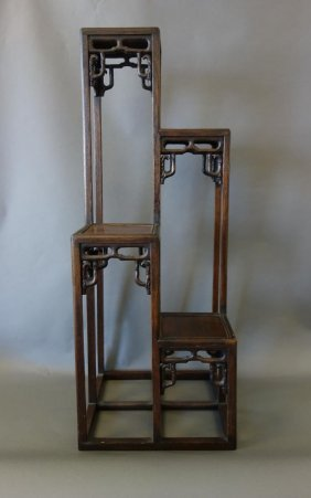 Chinese Carved Rosewood 4 Tier Pedestal Stand