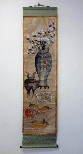 19thc Korean Folk Art Still Life Painting Scroll