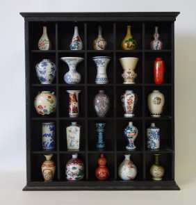 25 Chinese Miniature Porcelain Vases With Cabinet