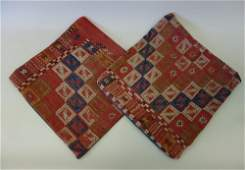 2 Turkish Hand Woven Kilim Rug Wool Pillow Shams