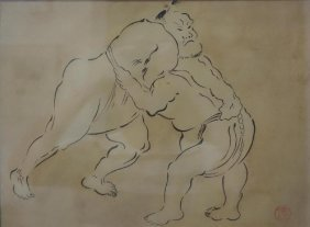Japanese Sumi Painting, Sumo Wrestlers, Signed